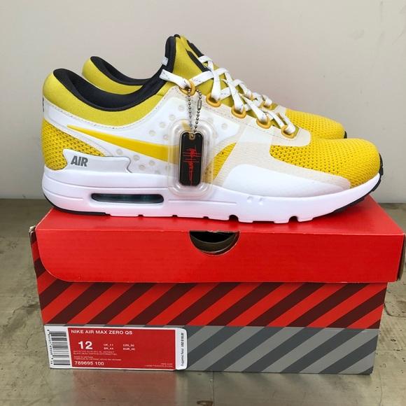 Nike Air Max Zero QS Size 11.5 White Vivid Sulfur Tinker Hatfield 789695 100